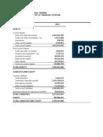 2014 Unaudited Financial Statement
