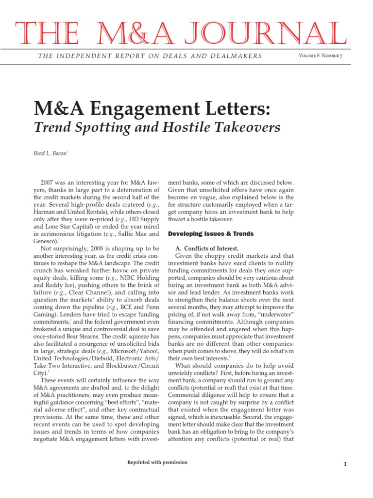 Investment banking m&a engagement letters for audits rate of return of investment definition