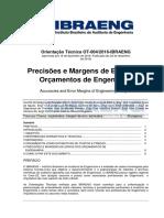 OT-004-2016-IBRAENG Precisão e Margem de Erro Dos Orçamentos