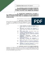 COMISSÃO DE JUSTIÇA E CIDADANIA  ARBITRAGEM  DESPACHO 6.027.375.2019 Parte Extra 1