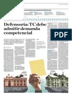 Defensoría, TC Debe Admitir Demanda Competencial