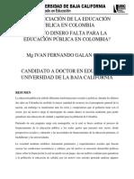 La Financiación de La Educación Pública en Colombia