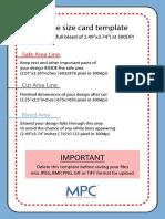 Bridge Size Card Template