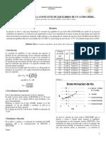 DETERMINACION DE LA CONSTANTE DE EQUILIBRIO DE UN ACIDO DÉBIL.