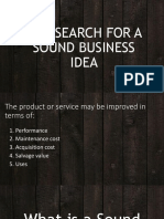 The Search for a Sound Business Idea