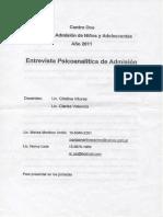 ejemplo entrevista de admision