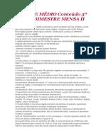 ORIENTE MÉDIO Conteúdo 3º ANO 3º BIMESTRE MENSA II