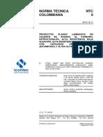 NTC 6 productos planos laminados en caliente de aceros, al cabono, estructurales , alta resistencia baja aleación