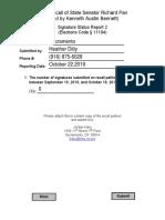 Recall of State Senator Richard Pan Signature Status Report 2 Sacramento County