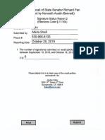 Recall of State Senator Richard Pan Signature Status Report 2 Yolo County