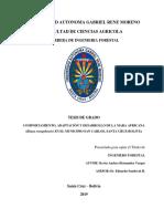 COMPORTAMIENTO, ADAPTACIÓN Y DESARROLLO DE LA MARA AFRICANA (Khaya senegalensis) EN EL MUNICIPIO SAN CARLOS, SANTA CRUZ-BOLIVIA
