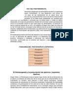 Rol Del Fisioterapeuta Kinesiologia Deportiva