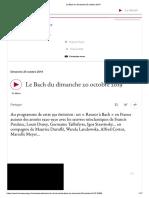 Le Bach Du Dimanche 20 Octobre 2019