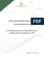 Intervention de Monsieur Ahmed LAHLIMI, Haut Commissaire Au Plan à La Conférence de Presse Sur La Situation de l'Économie Nationale en 2017 Et Ses Perspectives en 2018