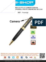 Mode d'Emploi Stylo Camera Espion HD 720P 60 FPS Appareil Photo USB Micro SD 2 Go