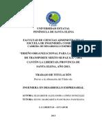"""Diseño Organizacional Para La Compañía de Transporte Mixto Mi Paz s.a."""", Del Cantón La Libertad, Provincia de Sa"""