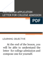 Writing an Application Letter for College Admission