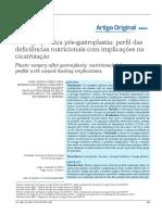 Cirurgia Plástica Pós-gastroplastia - Perfil Das Deficiências Nutricionais Com Implicações Na Cicatrização.