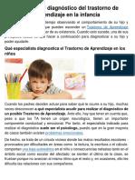 Cómo Es El Diagnóstico Del Trastorno de Aprendizaje en La Infancia