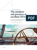 The mindsets  and practices of  excellent CEOs The CEO's job is as difficult as it is important. Her