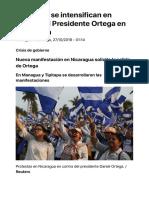 Protestas Se Intensifican en Contra Del Presidente Ortega en Nicaragua