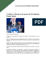 Confira o Discurso de Posse Do Presidente Paulo Sader