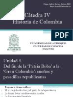 Unidad 4 De la 'Patria Boba' a la 'Gran Colombia' (Avances)