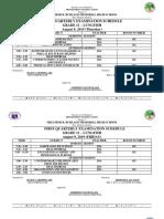 Senior High School First Quarterly Examination Scheddule s.y. 2018 - 2019