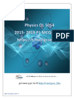 Physics 5054 OL P1 MCQs 2015-2019 All Vs