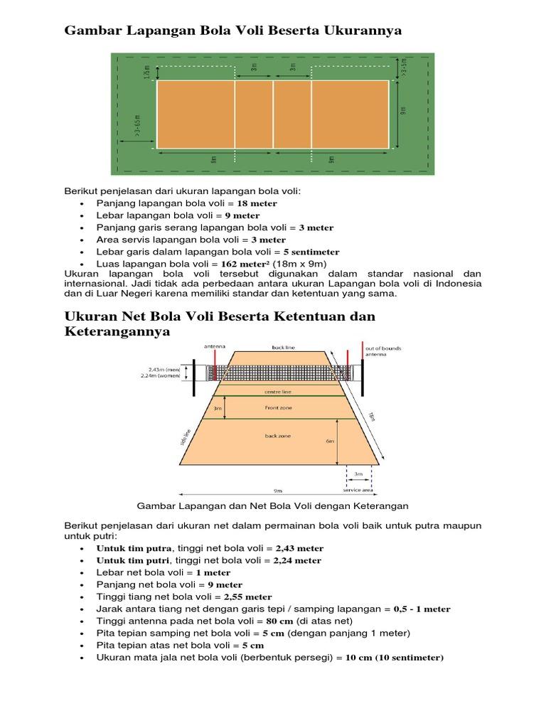 Gambar Lapangan Bola Voli Beserta Ukurannya