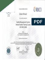 ISO Internal Auditor Certificate