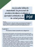 Jocul didactic matematic