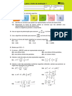 Teste 8º ano Matemática - número racionais