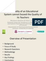 The Quality of an Educational System Cannot Exceed Quality Teachers