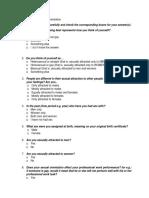 Questionnaire for Sexual Orientation