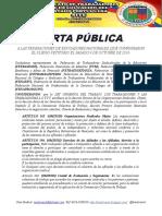 Carta Publica a Las 8 Federaciones 27 de Octubre 2019