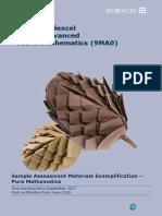 A Level Mathematics Sample Assessment Materials Exemplification