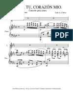 Canta Corazon Mio Canción para Piano de Luis A Calvo