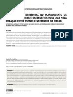 A abordagem territorial no planejamento de políticas públicas e os desafios para uma nova relação entre Estado e sociedade no Brasil