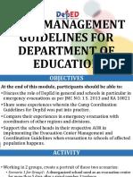 Presentation Camp Management Guidelines for DepEd