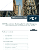 NYIF Investment Banking Certification Program Brochure