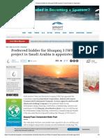 Preferred Bidder for Shuqaiq 3 IWP Project in Saudi Arabia is Appointed