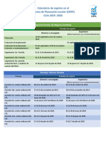 Calendario de RegistroSISPE 2019-2020