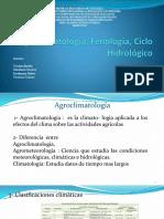 Agroclimatología, Fenología, Ciclo Hidrológico