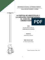 La poética de Aristóteles y la cración contemporánea. El caso del guión cinematográfico.
