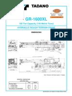 Tadano GR 1600XL Spec Sheet