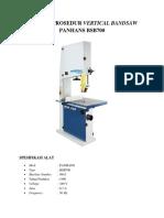 Manual Prosedur Vertical Bandsaw