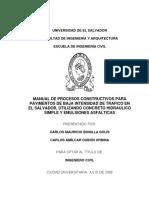 Manual de Procesos Constructivos Para Pavimentos de Baja Intensidad de Tráfico en El Salvador, Utilizando Concreto Hidráulico Simple y Emulsiones Asfálticas
