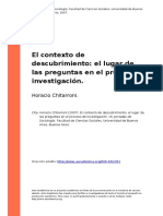 Horacio Chitarroni (2007). El Contexto de Descubrimiento El Lugar de Las Preguntas en El Proceso de Investigacion