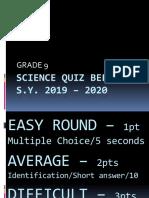 grade 9 science quiz bee